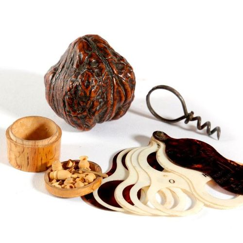 ? A SCANDINAVIAN CARVED BIRCH COLLECTION OF MICRO SCULPTURE ITEMS POSSIBLY FOR A…