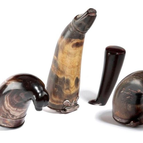 ? THREE SCOTTISH HORN ZOOMORPHIC SNUFF MULLS LATE 18TH / 19TH CENTURY each with …