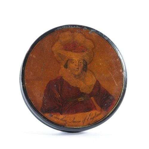 A LACQUERED PAPIER MACHE QUEEN CAROLINE SNUFF BOX EARLY 19TH CENTURY the lid wit…