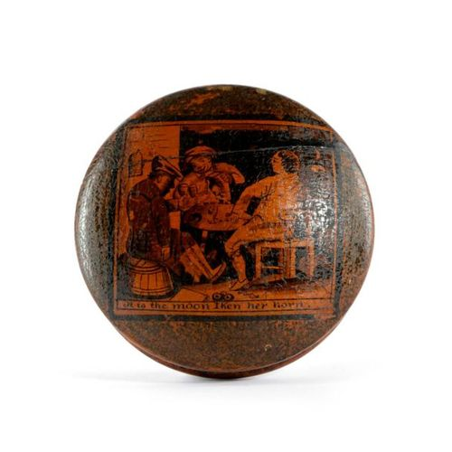 A SCOTTISH SYCAMORE AND PENWORK SNUFF BOX EARLY 19TH CENTURY of disc form, the l…