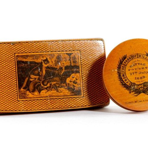 A SCOTTISH SYCAMORE MAUCHLINE WARE AND PENWORK SNUFF BOX EARLY 19TH CENTURY all …