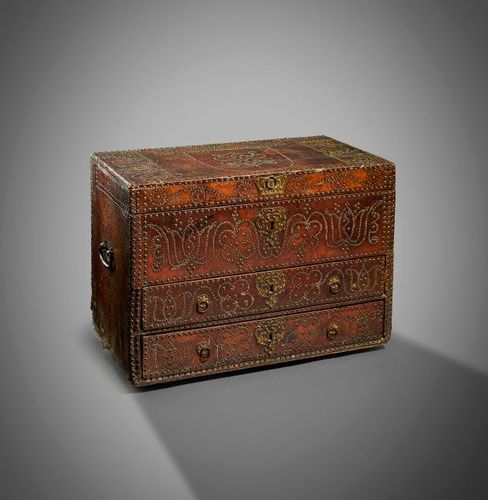 A RARE WILLIAM AND MARY BRASS STUDDED LEATHER CHEST ATTRIBUTED TO THE WORKSHOP O…