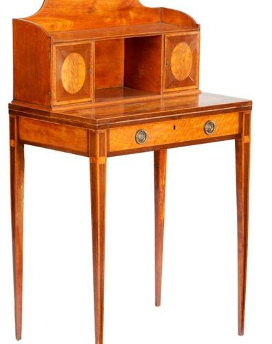 A GEORGE III SATINWOOD AND PURPLE HEART BONHEUR DU JOUR ATTRIBUTED GILLOWS, C.17…