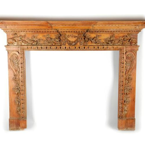 A CARVED PINE FIRE SURROUND / CHIMNEY PIECE IN GEORGE II STYLE 19TH CENTURY the …