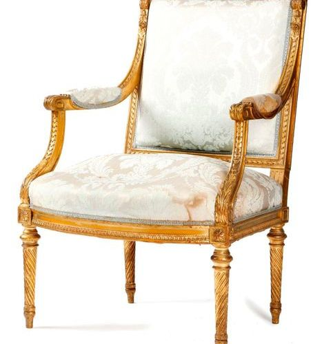 A FRENCH GILTWOOD FAUTEUIL IN LOUIS XVI STYLE SECOND HALF 19TH CENTURY the padde…