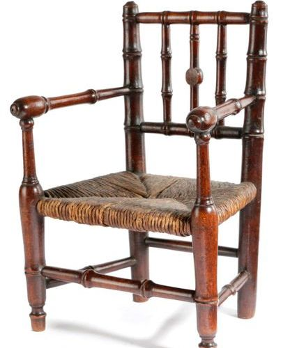 A MAHOGANY MINIATURE FAUX BAMBOO OPEN ARMCHAIR EARLY 19TH CENTURY possibly an ap…