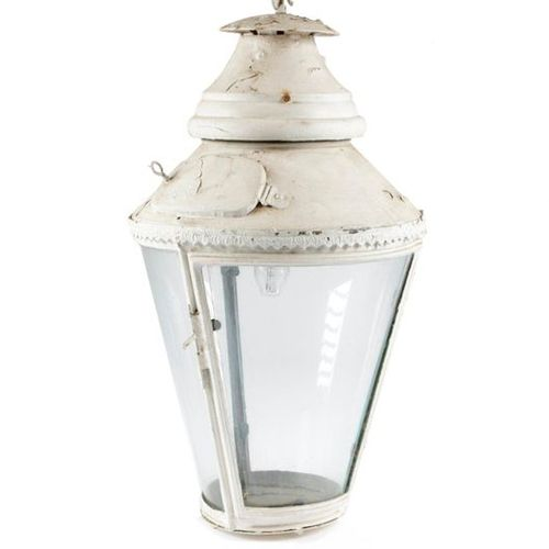 A WHITE PAINTED COPPER HALL LANTERN LATE 19TH CENTURY with a moulded leaf band a…