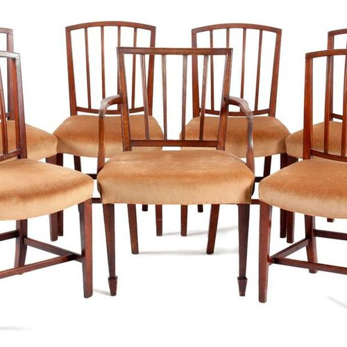 A SET OF SIX GEORGE III MAHOGANY DINING CHAIRS IN SHERATON STYLE C.1800 each wit…