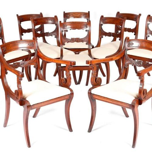 A SET OF TEN REGENCY MAHOGANY 'GRECIAN STYLE' DINING CHAIRS IN THE MANNER OF GEO…