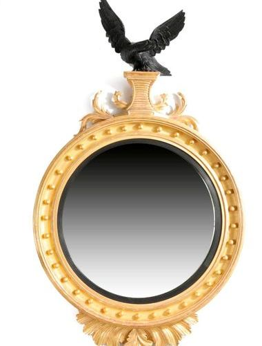 A LARGE GILTWOOD CONVEX WALL MIRROR IN REGENCY STYLE LATE 20TH CENTURY the circu…