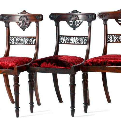 ? THREE WILLIAM IV ROSEWOOD SIDE CHAIRS C.1830 each with a curved top rail carve…