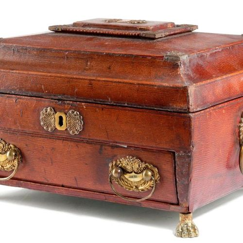 A LATE REGENCY RED LEATHER WORKBOX EARLY 19TH CENTURY with brass mounts, of sarc…