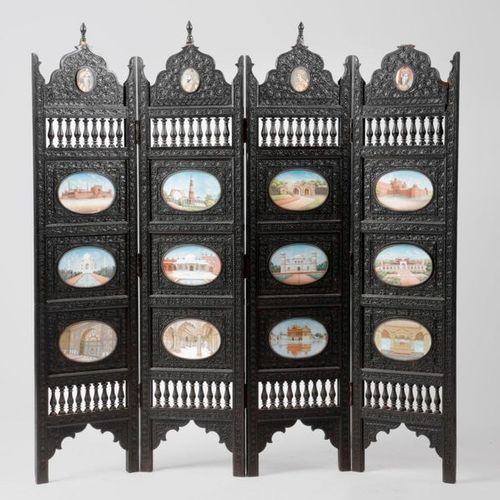 ? AN ANGLO INDIAN EBONY FOUR FOLD TABLE SCREEN LATE 19TH / EARLY 20TH CENTURY ca…