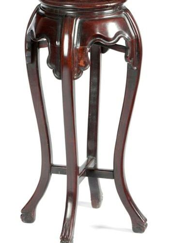 A CHINESE HARDWOOD JARDINIERE STAND LATE 19TH CENTURY the circular inset marble …