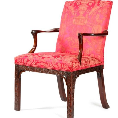 A GEORGE III MAHOGANY OPEN ARMCHAIR C.1770 with an arched padded back and seat, …