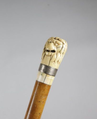 ? A GEORGE III IVORY HANDLED WALKING CANE C.1780 90 AND LATER the pommel carved …