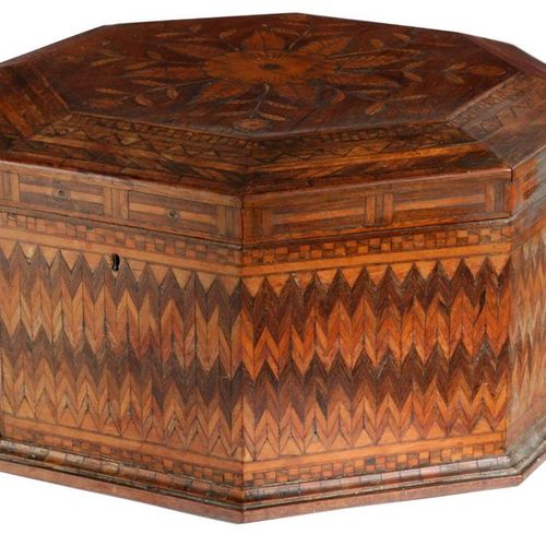 ? A ROSEWOOD AND MARQUETRY OCTAGONAL SEWING BOX POSSIBLY GERMAN OR DUTCH, EARLY …