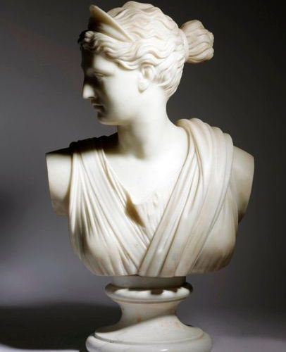 AFTER THE ANTIQUE. A FRENCH WHITE MARBLE GRAND TOUR BUST OF DIANA 19TH CENTURY o…