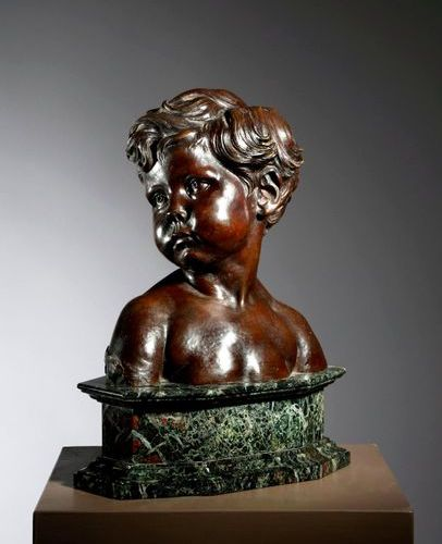 A BRONZE BUST OF A YOUNG CHILD 'BUSTE D'ENFANT' AFTER AIME JULES DALOU (FRENCH 1…