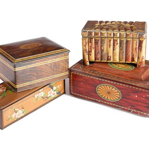 A HUNTLEY & PALMERS 'LOG BOX' BISCUIT TIN C.1911 decorated to simulate a chest f…