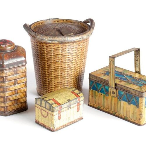 A PALMER BROS 'PICNIC BASKET' BISCUIT TIN C.1900 with a swing handle, the unders…