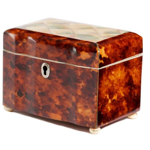 ? A SMALL EARLY VICTORIAN TORTOISESHELL BOX C.1840 with a serpentine front, the …