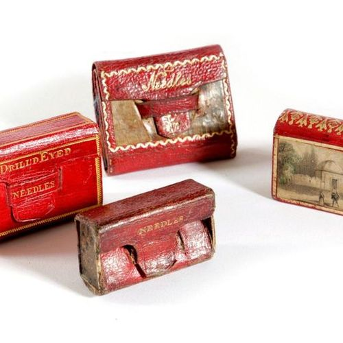 FOUR LEATHER NEEDLE CASES EARLY TO MID 19TH CENTURY with gilt tooled decoration,…