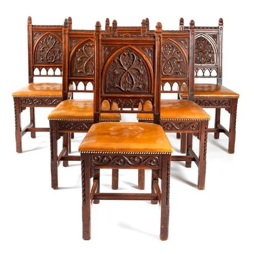 A SET OF SIX OAK GOTHIC REVIVAL DINING CHAIRS SECOND HALF 19TH CENTURY each with…