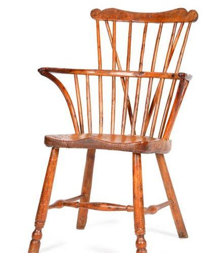 A GEORGE III YEW, ELM AND ASH WINDSOR ARMCHAIR OF GOLDSMITH TYPE THAMES VALLEY, …