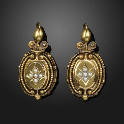 A pair of late Victorian gold earrings, set with seed pearls and with pellet dec…