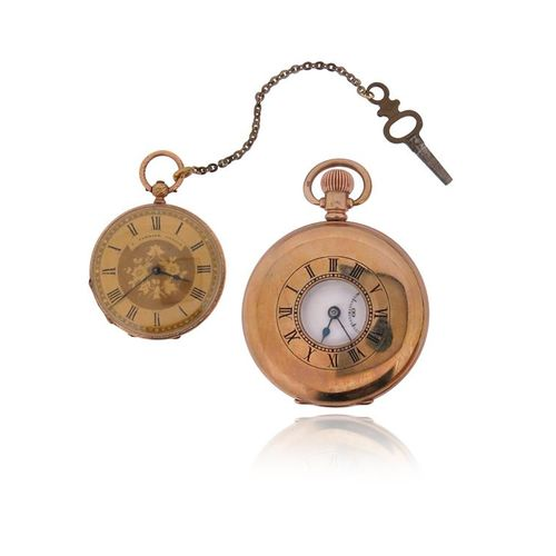 A 9ct gold half hunting cased pocket watch by Benson, subsidiary seconds dial, 9…