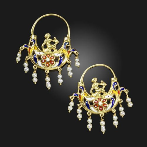 A pair of enamel and gold earrings, designed as stylised putti riding polychrome…