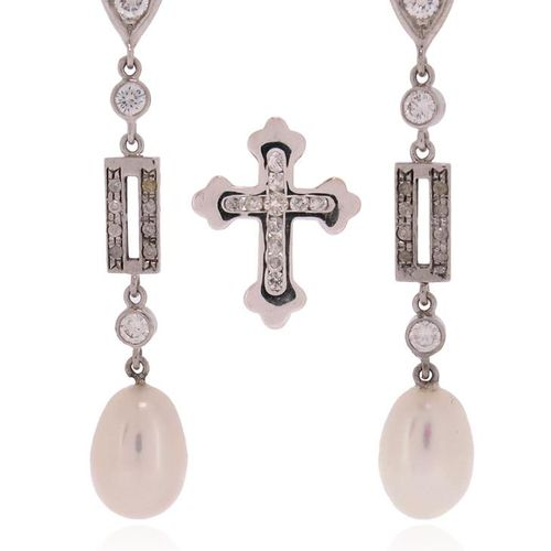 A pair of cultured pearl and diamond drop earrings, the upper sections set with …