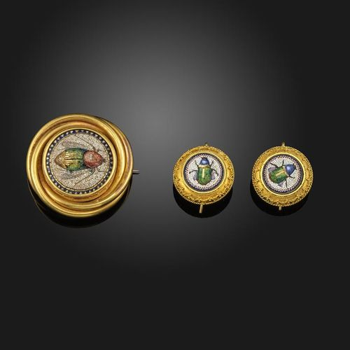 A Victorian micromosaic set gold brooch and earrings, each centred with a microm…