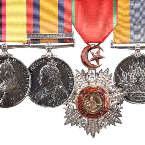 乌姆杜尔曼战役一组四枚奖章,授予1899年在马格斯方丹战役中牺牲的海福特高地部队欧内斯特 考克斯中尉。1896 98年女王苏丹勋章(LIEUT.E.COX.1/…