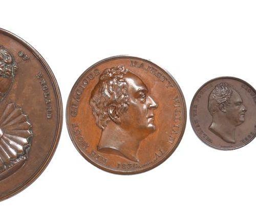 四枚英国皇家纪念章。1820年卡洛琳女王的审判,AE,82毫米,左半身戴着围脖,反面。Britannia dismisses Discord (E 1131),…
