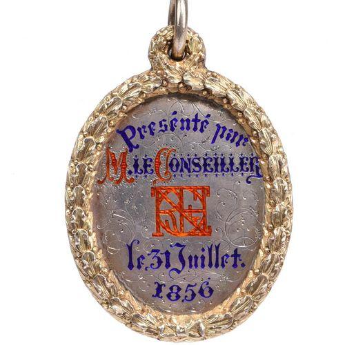 Ecosse : Edinburgh High School 1856 : une médaille de prix en argent doré, argen…