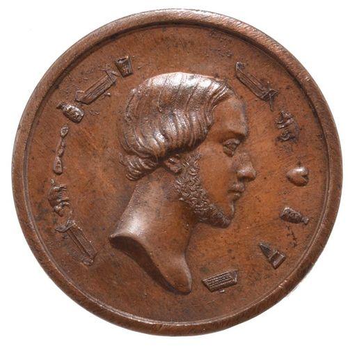 法国。Henry of Artois, Count of Chambord, duc de Bordeaux (1820 1883, 1848年铜质拼图奖章,4…