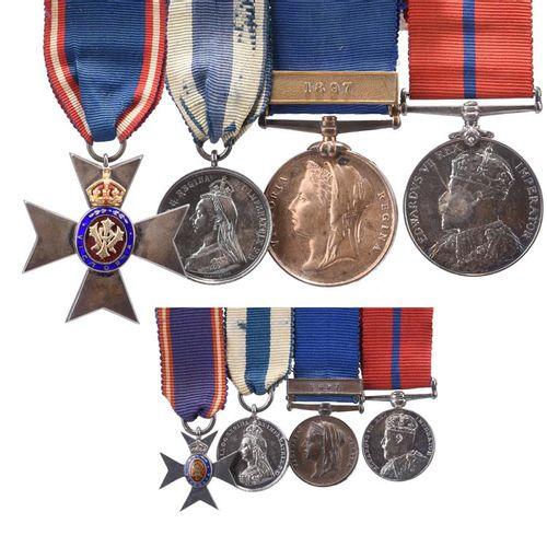 一个稀缺的M.V.O.组,给大都会警察的Frederick Beard警司。皇家维多利亚勋章,会员五等胸章,银质,银鎏金和珐琅,背面编号为38,在Colling…