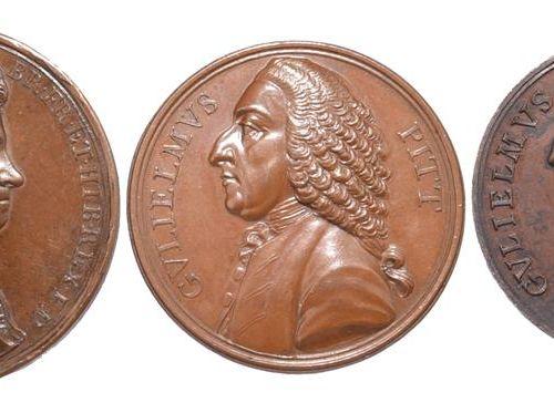 大不列颠:政治纪念章(3)。1717年恩典和自由赦免法案,AE,45毫米,乔治一世的半身像,反面有翅膀的克莱门特像,由J.Croker(E 478)几乎非常好;…