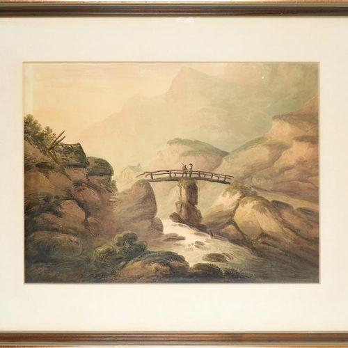 Disciple de Francis Nicholson, Paysage fluvial avec des personnages sur un pont,…