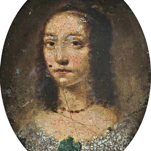 英国学校17世纪的肖像缩影,一位女士身穿带蕾丝边的绿色礼服 椭圆形,铜质,带木框 60 x 48mm