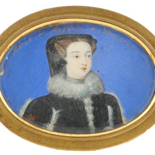Λ归功于伯纳德 朗斯三世(1682 1740),苏格兰玛丽王后的肖像缩影,身穿毛皮黑裙,佩戴珍珠项链,刻有Maria Regina Scotorum(沿上边缘)…