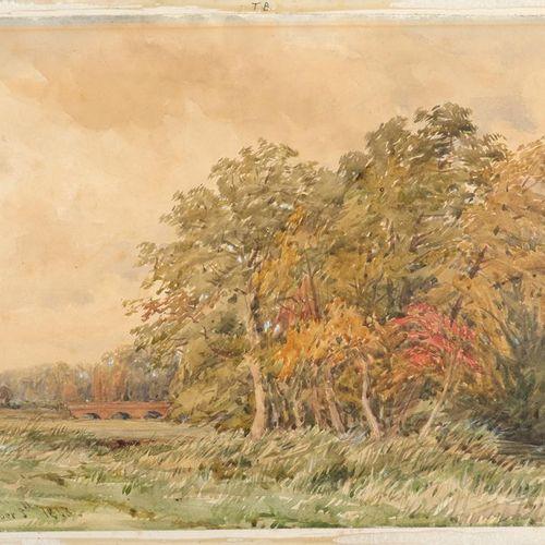 Thomas Baker (1809 1864) Beside the Leam Signé et daté T. BAKER / October 5th 18…