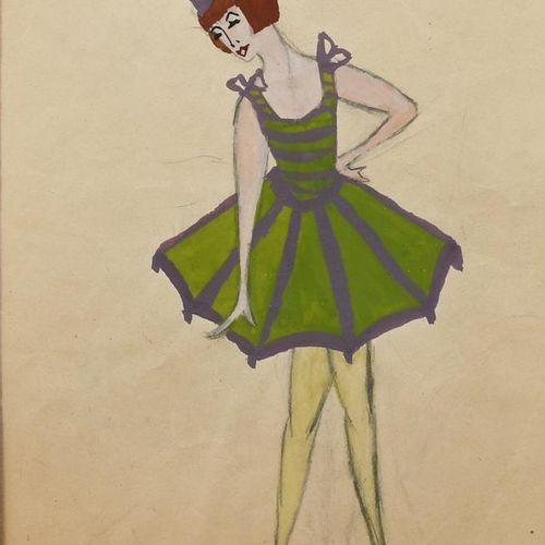 ‡ Dorte Clara Dodo Burgner (1907 1998) Femme en robe verte avec un chat gouache …