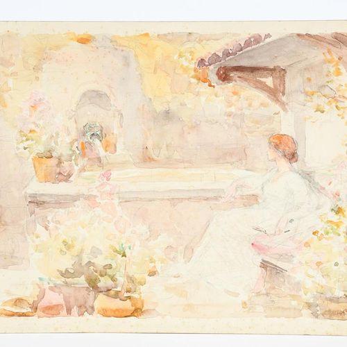 Anon Lady Resting in a Garden, aquarelle sur carton, le verso avec un dessin d'u…