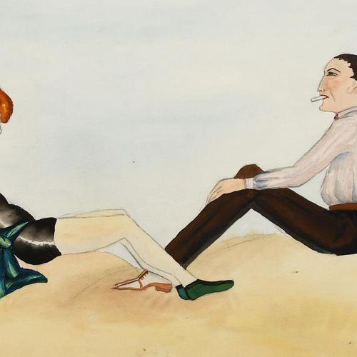 ‡ Dorte Clara Dodo Burgner (1907 1998) Le rendez vous de la plage aquarelle sur …