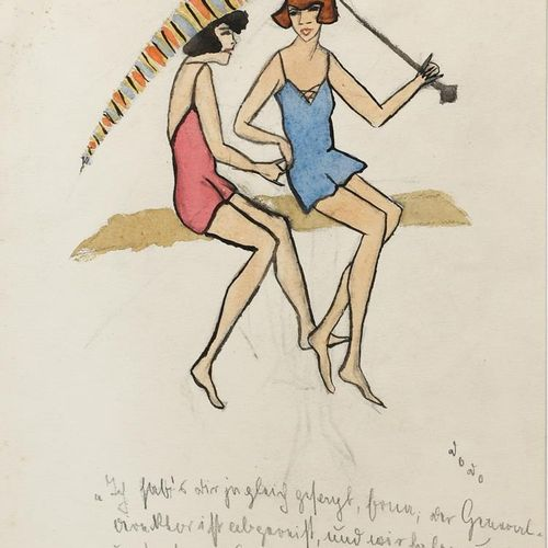 ‡ Dorte Clara Dodo Burgner (1907 1998) Beach Beauties aquarelle, plume et encre …