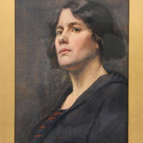 Eleanor Fortescue Brickdale (1872 1945), Portrait d'une dame, aquarelle sur papi…