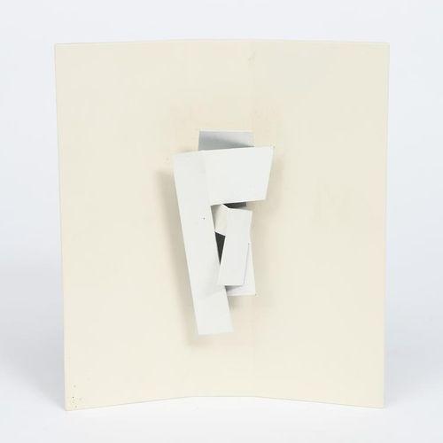 Jon Catleugh (1920 2009) Steel Study 18, 弧形木架上的珐琅金属模型,无签名,有标题和J Catleugh的贴纸标签 高2…
